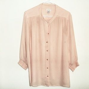 Chico's Peach Button Up Blouse Size 3 = Size 16
